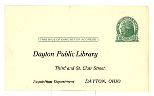 Reply postcard from Crisis to Dayton Public Library