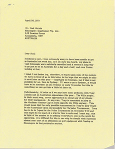 Letter from Mark H. McCormack to Noel Morris