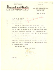 Letter from Norfolk Journal and Guide to W. E. B. Du Bois