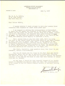 Letter from Louis D. Rubin, Jr. to W. E. B. Du Bois
