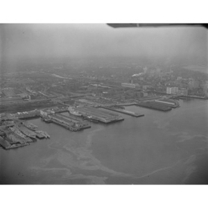 South Boston Harbor area, Fish Pier, left, Commonwealth Pier, center, various ships, Boston, MA