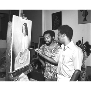 African-American painter and observer in studio