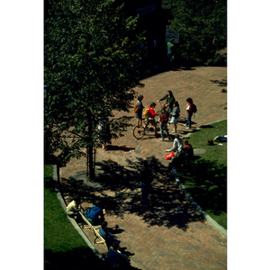 Aerial view of students on the Northeastern campus