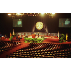 Empty Matthews Arena before the inauguration of President Freeland