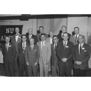 Northeastern University's first football team (1933) together 25 years later at the Alumni Fall Homecoming program