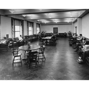 Students study in the Milton Lounge in the Ell Student Center