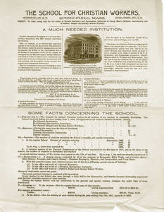 A flyer of the School for Christian Workers, 1887
