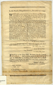 In the House of Representatives, December 27, 1755: Whereas a considrable Number of the Inhabitants of Nova-Scotia arrived here ... are in great Danger of suffering during this vigorous Season, without the Interpolation of the Court