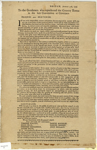Boston, August 31st, 1779 : to the Gentlemen who represented the Country Towns in the late Convention at Concord...