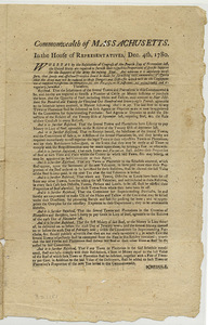In the House of Representatives, Dec. 4th, 1780 : whereas by the resolutions of Congress of the fourth day of November last, the United States are required to furnish their respective proportions of specific supplies for the support of the Army the ensuing year.