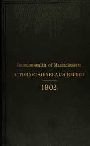 Report of the attorney general for the year ending January 21, 1903