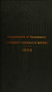 Report of the attorney general for the year ending January 20, 1904