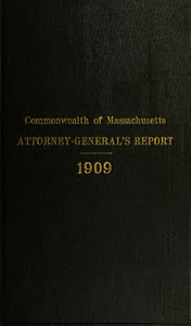 Report of the attorney general for the year ending January 19, 1910