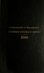 Report of the attorney general for the year ending January 21, 1920