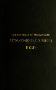 Report of the attorney general for the year ending January 19, 1921
