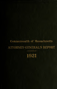 Report of the attorney general for the year ending January 18, 1922