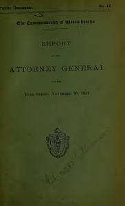 Report of the attorney general for the year ending November 30, 1924