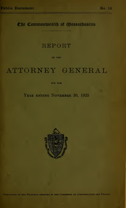 Report of the attorney general for the year ending November 30, 1925