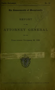 Report of the attorney general for the year ending November 30, 1926