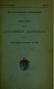 Report of the attorney general for the year ending November 30, 1927