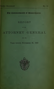 Report of the attorney general for the year ending November 30, 1928