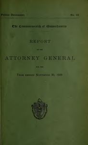 Report of the attorney general for the year ending November 30, 1929