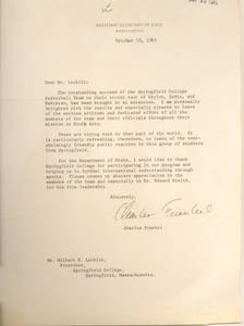 Letter to Springfield College President Wilbert Lockling from Assistant Secretary of State, Charles Frankel (1965)