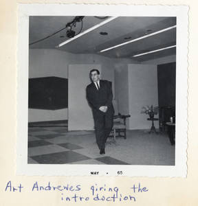 Art Andrewes giving the Introduction, 1965