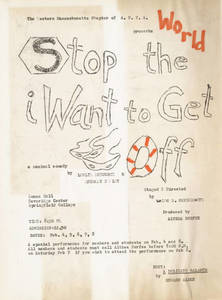 """Stop the World I want to Get Off"" Flyer"
