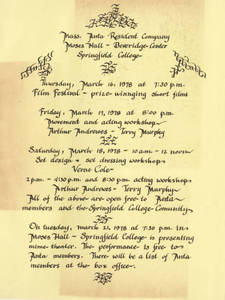 Flyer of ANTA workshops and events, 1978