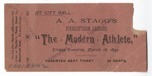 """The Modern Athlete"" Ticket (March 18, 1892)"