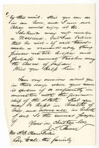 Partial Letter from Jacob T. Bowne (1890-1891?)