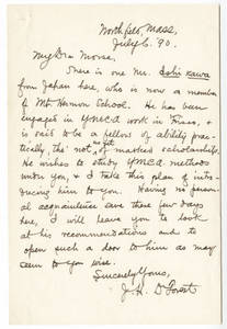 Letter from DeForest to Morse (July 6, 1890)
