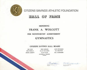 Citizens Savings Athletic Foundation Plaque for Frank Wolcott (1973-2007?)