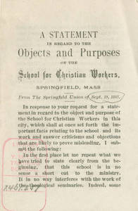 Purpose of the School for Christian Workers, by David Allen Reed
