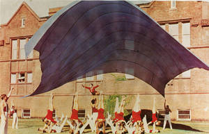 Gymnastics team parachute performance, c. 1963