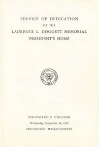 Dedication of the Laurence L. Doggett Memorial President's Home pamphlet