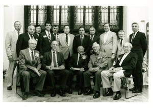 The five inductees and group of men at the YMCA Hall of Fame induction ceremony (1989)