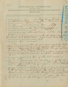 George H. Winslow Springfield College Application (July 13, 1889)
