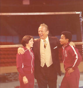 Art Linkletter with gymnasts