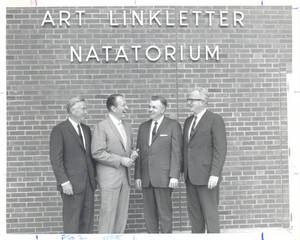 Art Linkletter and Wilbert E. Locklin standing in front of Art Linkletter Natatorium