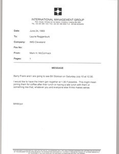 Fax from Mark H. McCormack to Laurie Roggenburk