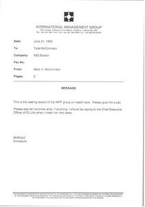 Fax from Mark H. McCormack to Todd McCormack