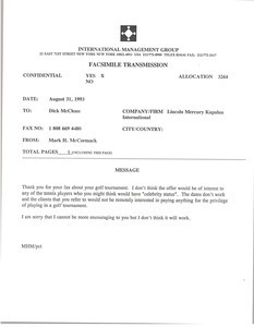 Fax from Mark H. McCormack to Dick McClean