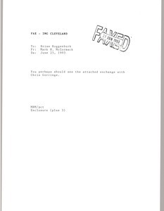 Fax from Mark H. McCormack to Brian Roggenburk