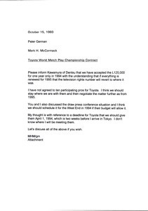 Letter from Mark H. McCormack to Peter German