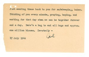 Note from Carl Henry to Edith Henry