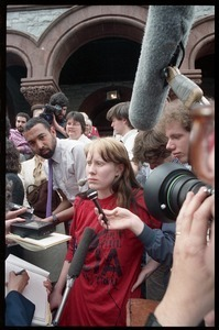 Amy Carter being interviewed by the press on the front steps of the Hampshire County Courthouse after her acquittal in the CIA protest case