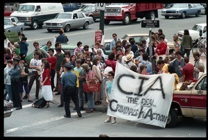 Anti-CIA protesters gathered at the corner of Main nd Gothic Street outside the Northampton Court House during the CIA protest trial