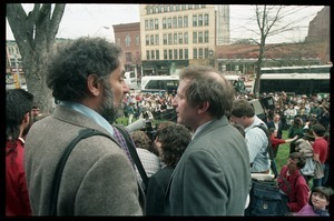 Abbie Hoffman (left) leaves the Hampshire County Courthouse after being found not guilty